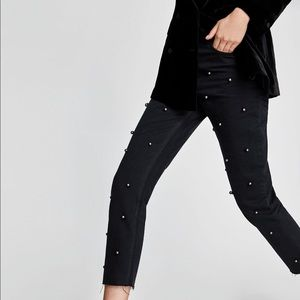 🆕NWT Zara black mesh jeans with pearls